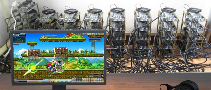 Bitcoin Mining Rig Playing The Shit Out Of Maplestory